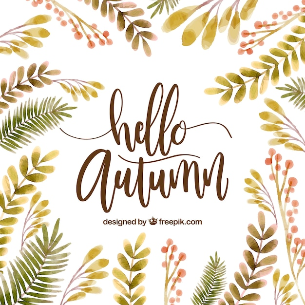 Hello autumn, background with watercolor leaves Vector ...