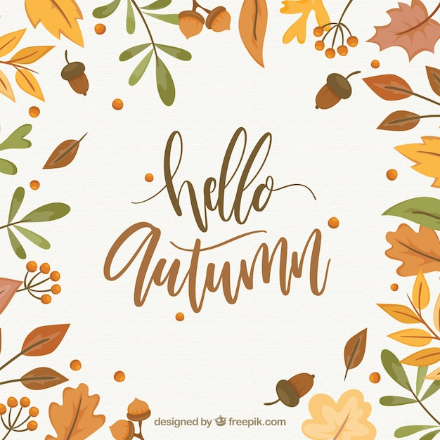 Hello autumn background Free Vector