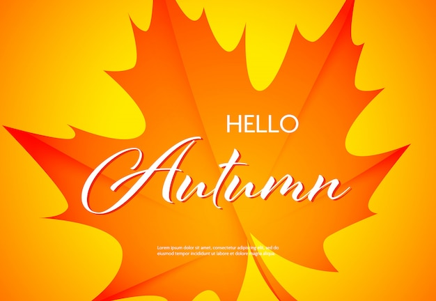 Hello autumn bright poster with text sample Free Vector