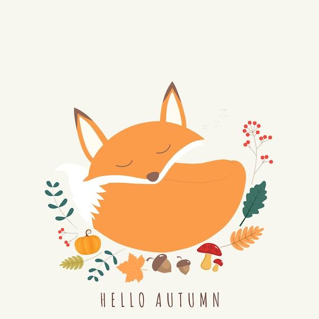 Привет, осень карты мило лиса. Premium векторы