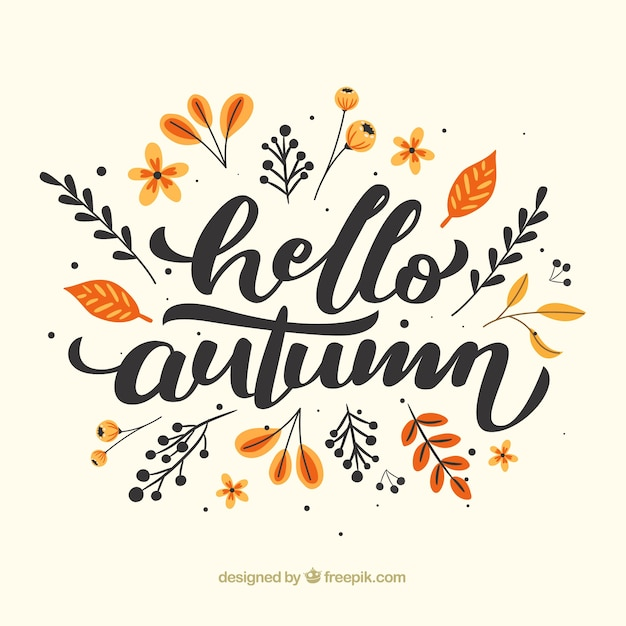 Hello autumn composition with flat design Free Vector