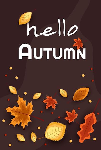 Привет осень. концепция осенней рекламы. иллюстрация на фоне осенних листьев. Premium векторы