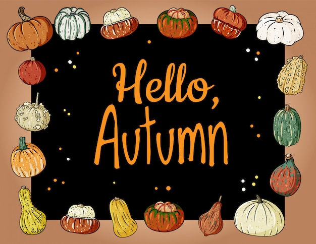 Hello autumn cute cozy banner with pumpkins. autumn festive poster. fall harvest greetings postcard Premium Vector