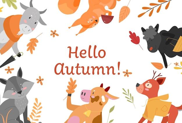 Привет осень, милая осень концепция векторные иллюстрации Premium векторы