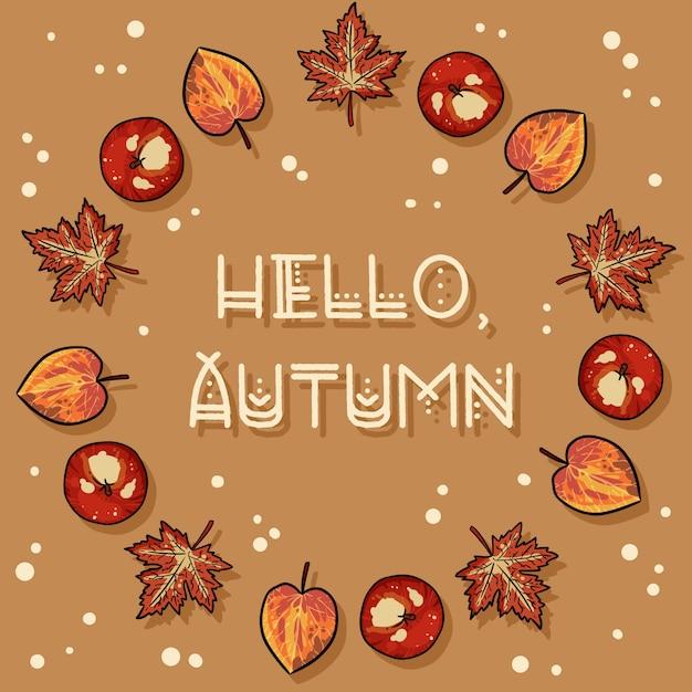 Hello autumn decorative wreath cute cozy card Premium Vector