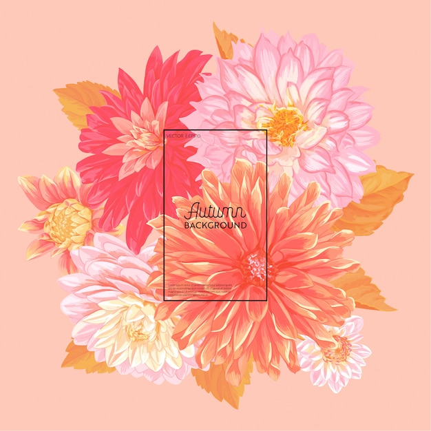 Привет осень цветочный дизайн. сезонная осень цветочный фон Premium векторы