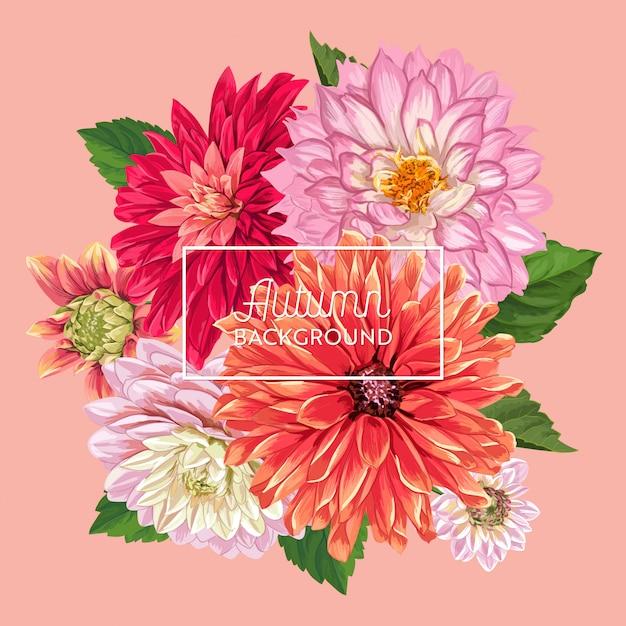 Hello autumn floral design. seasonal fall floral Premium Vector