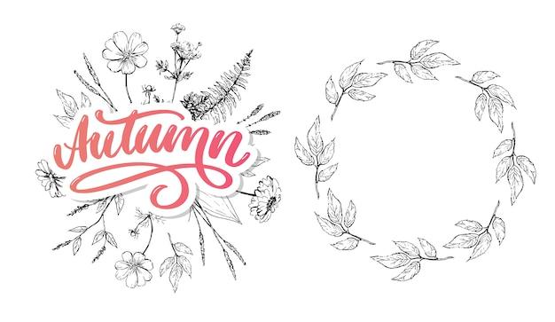 Hello, autumn. goodbye, summer trend calligraphy. Premium Vector