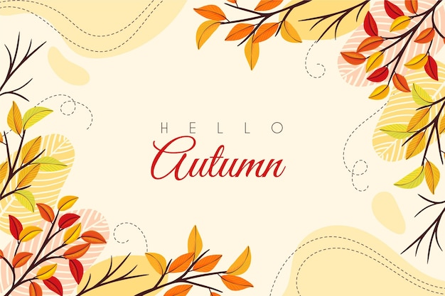 Hello autumn hand drawn background Free Vector