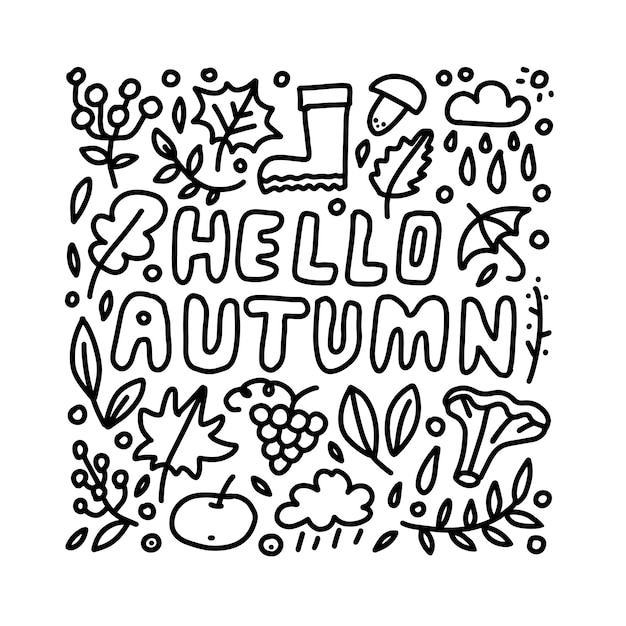 Hello autumn hand drawn lettering card with doodle leaves and mushroomes. inspirational autumn quote. Premium Vector