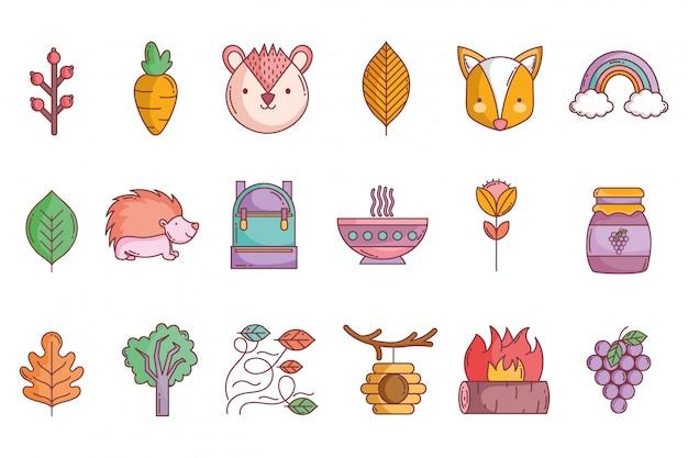 Hello autumn icons collection Premium Vector
