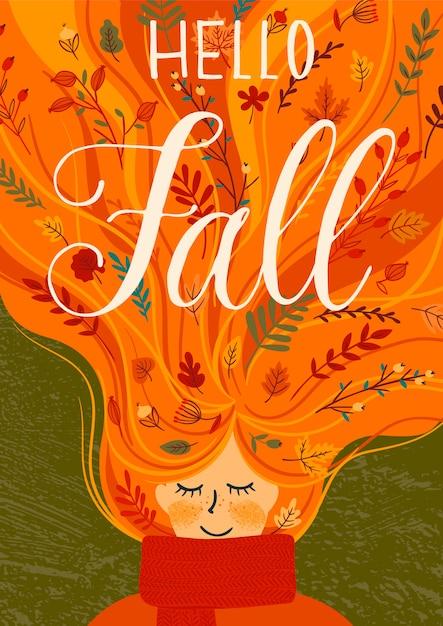 Hello autumn illustration with cute woman. Premium Vector