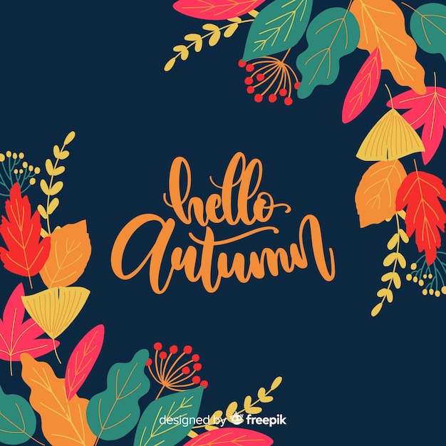 Hello autumn lettering background with leaves Free Vector