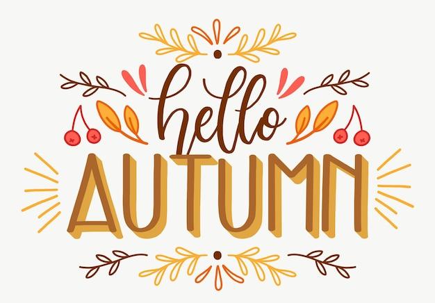 Ciao autunno - concetto di lettering Vettore gratuito