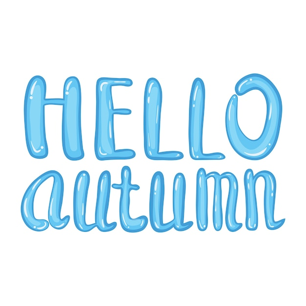 Hello autumn lettering puddle with falling colorful leaves. Premium Vector