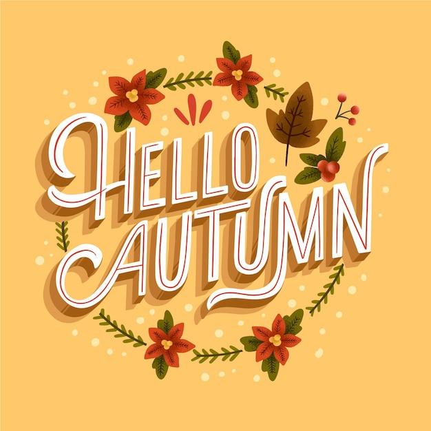 Привет осенняя надпись с нарисованными листьями и цветами Бесплатные векторы