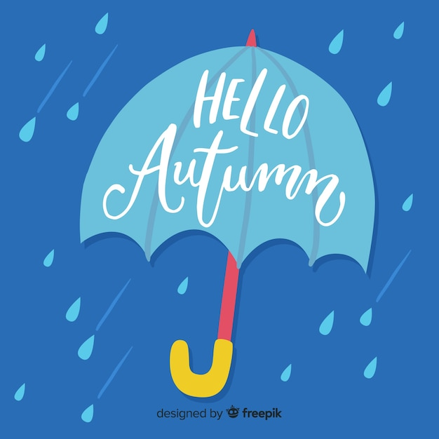 Hello autumn lettering with leaves Free Vector