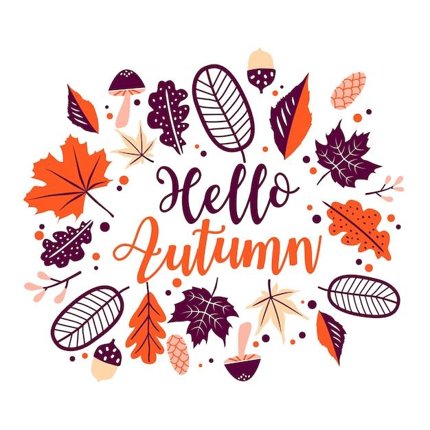 こんにちは秋のレタリングオレンジの花の葉、白い背景で隔離の葉フレーム。 Premiumベクター
