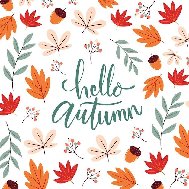 Hello autumn - lettering Free Vector