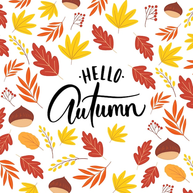 Hello autumn - lettering Free Vector