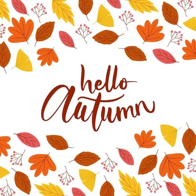 Ciao autunno - scritte Vettore gratuito