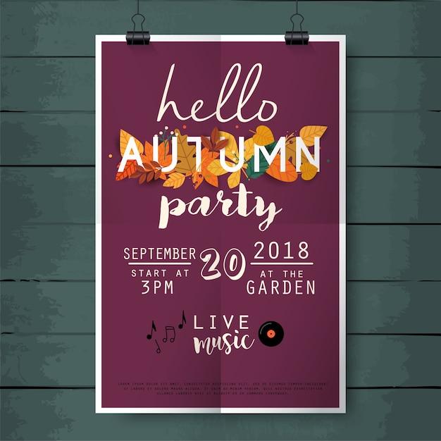 こんにちはウッドテクスチャ背景に秋のパーティーポスターレタリング Premiumベクター