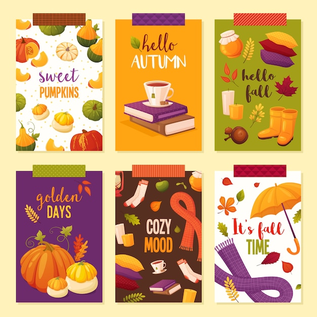 Hello autumn poster set. different elements: books, tea, pumpkins, honey, scarfs, leaves, pillows, boots, candles, socks. Premium Vector