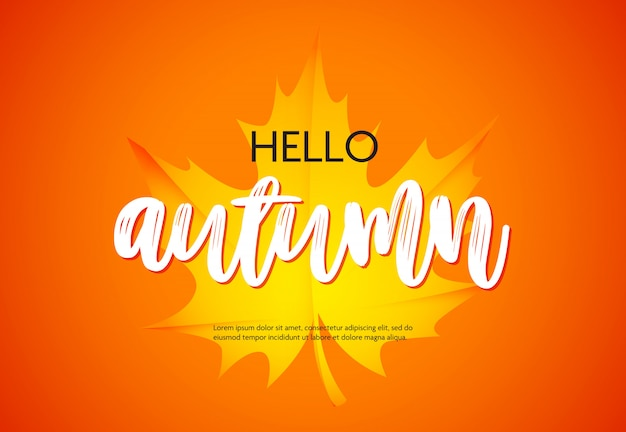Hello autumn poster with yellow maple leaf Free Vector