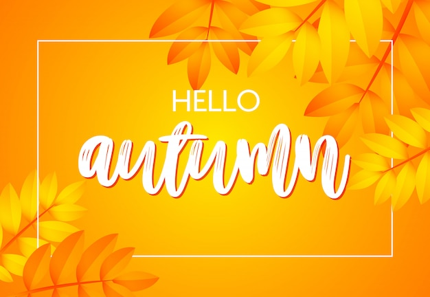 Hello autumn poster with yellow Free Vector
