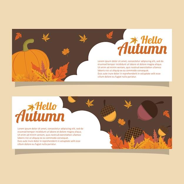 Шаблон баннера hello autumn pumpkin acorn Premium векторы