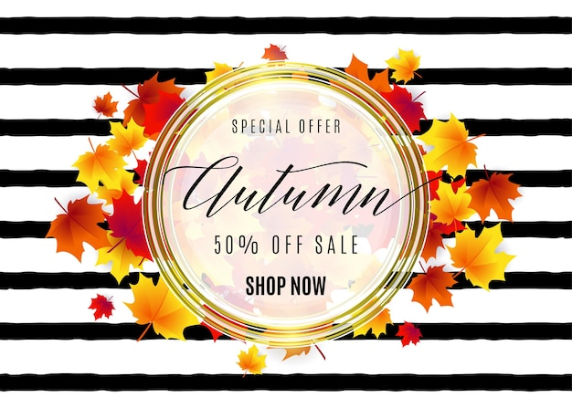 안녕하세요 가을 판매 흰색 라운드 기하학적 프레임, 황금 선, 떨어지는 붉은 단풍 줄무늬 질감에 나뭇잎 무료 벡터