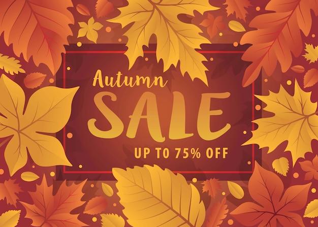 안녕하세요 가을 시즌입니다. 가 단풍과가 배경입니다. 잎가 판매 템플릿입니다. 쇼핑 판매 배너, 프리미엄 벡터