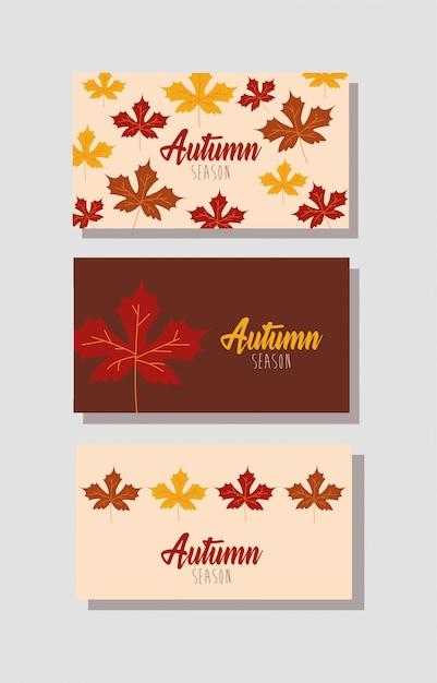 Hello autumn season bundle of cards Free Vector