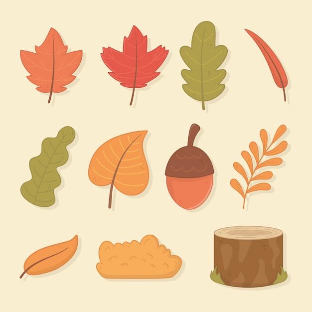 Hello autumn season leafs and set icons Premium Vector