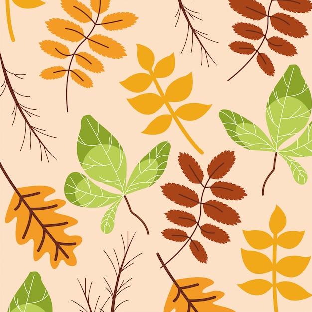 Hello autumn season leaves pattern Free Vector