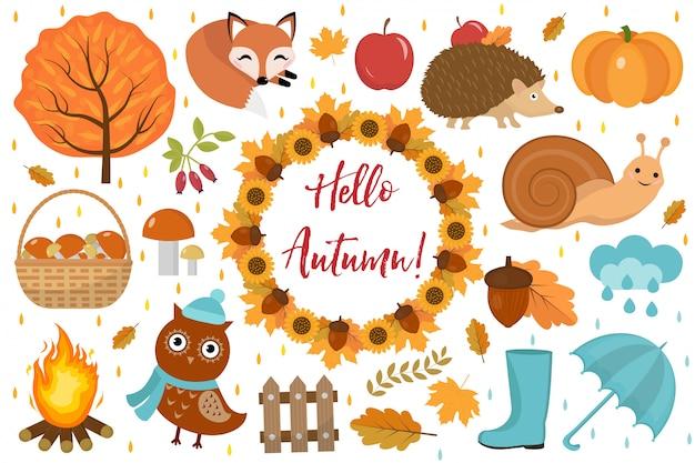 Привет осень установить квартиру или мультяшном стиле. элементы дизайна коллекции с листьями, деревьями, грибами, тыквой, дикими животными, зонтиком и сапогами. изолированные на белом фоне векторная иллюстрация Premium векторы