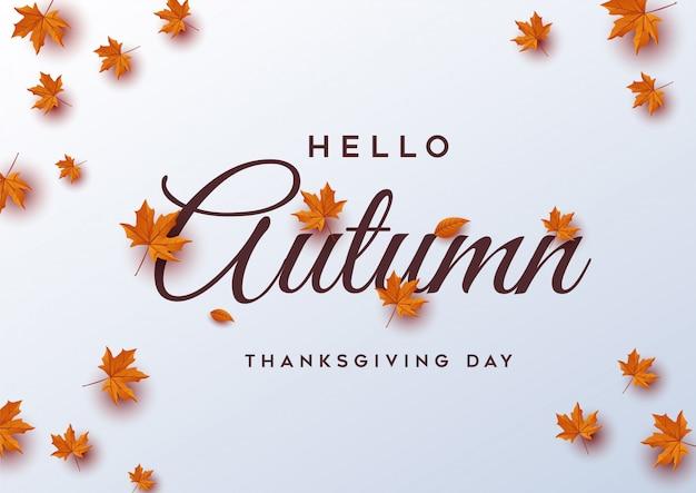 Hello autumn. thanksgiving day greeting card Premium Vector