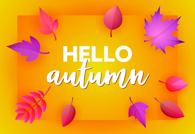 Hello autumn yellow greeting card Free Vector