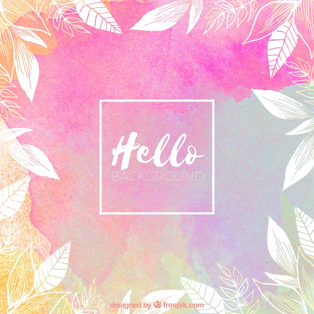 Wallpaper Helloworld: Hello, Background With Watercolors Vector