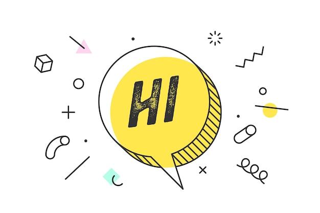 Привет. баннер, речевой пузырь, геометрический стиль с текстом hello. Premium векторы