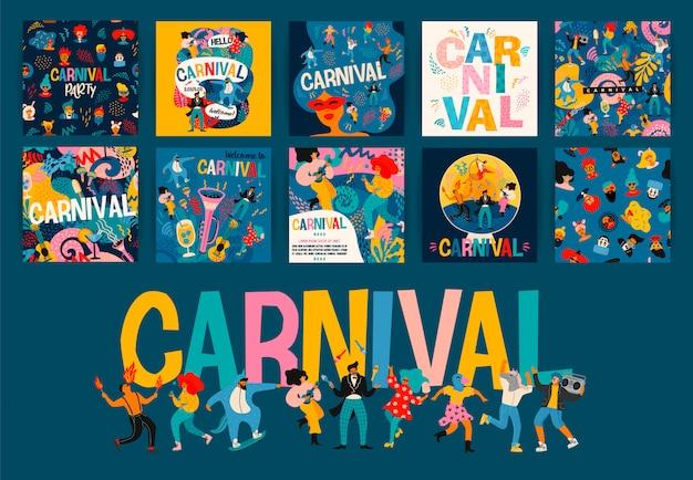Hello carnival.  set of illustrations for carnival  . Premium Vector