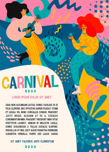 Hello carnival. vector poster with funny dancing men and women in bright modern costumes. Premium Vector