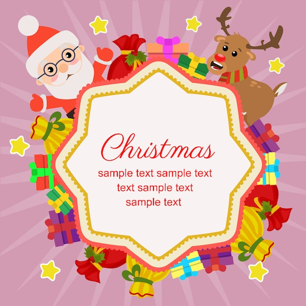 Hello christmas with reindeer gift sacks Premium Vector