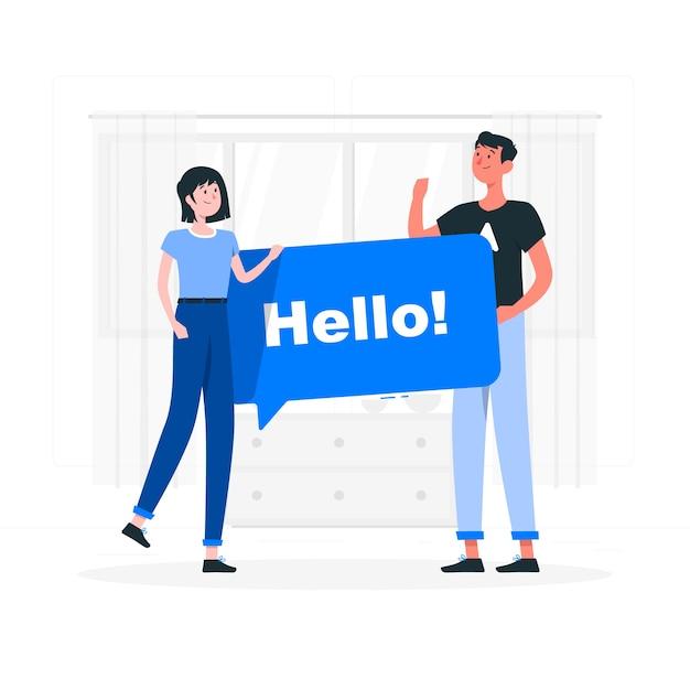 Hello concept illustration Free Vector