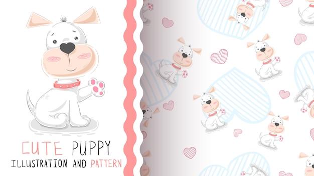 Hello cute puppy - seamless pattern Premium Vector
