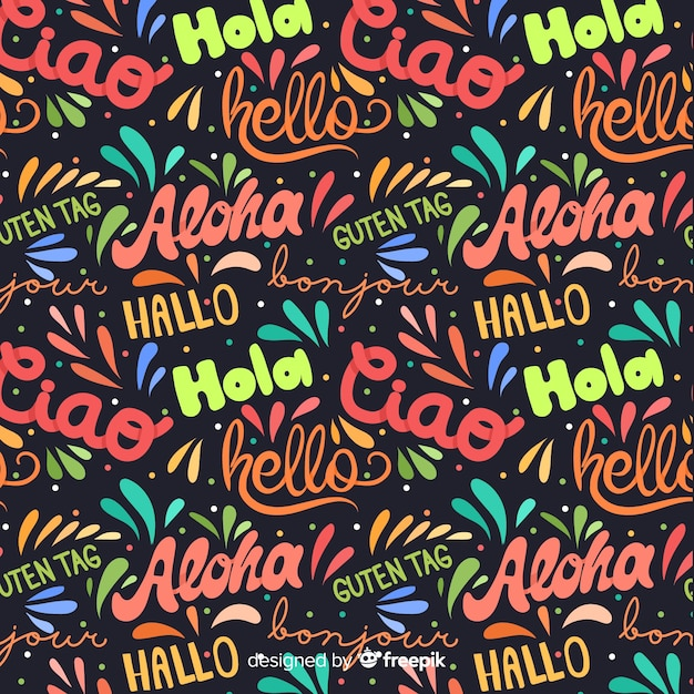 Hello in different languages background Free Vector
