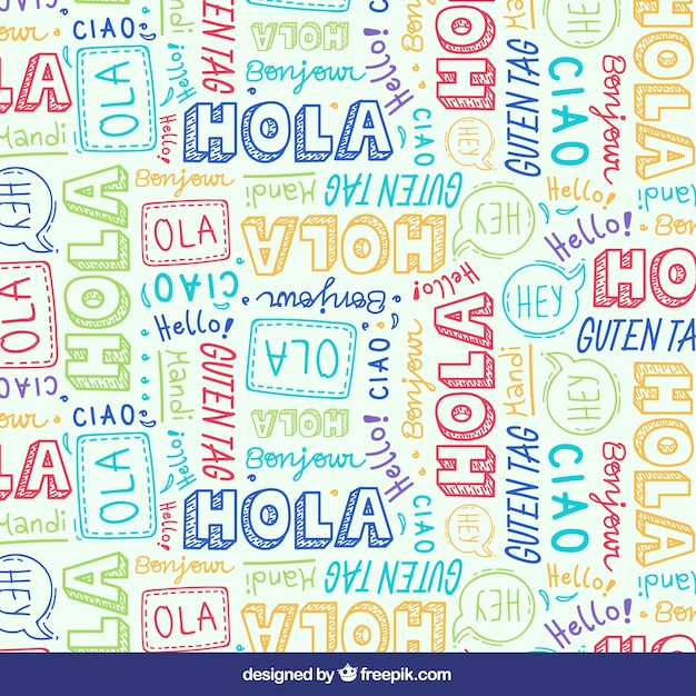 Hello in different languages Free Vector