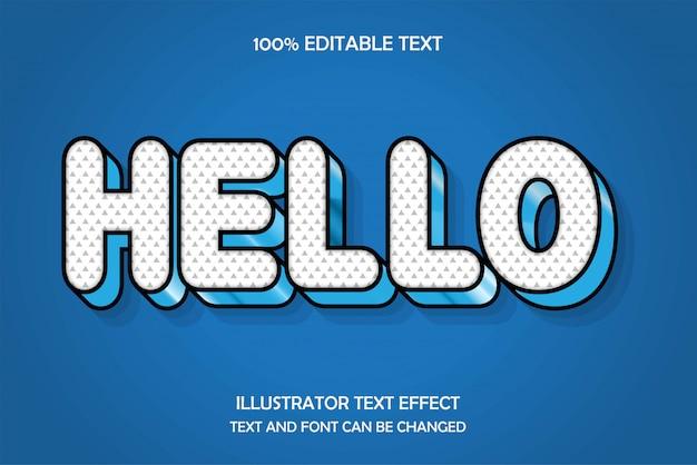 안녕하세요, 편집 가능한 텍스트 효과, 푸른 하늘 엠 보스 스타일 프리미엄 벡터