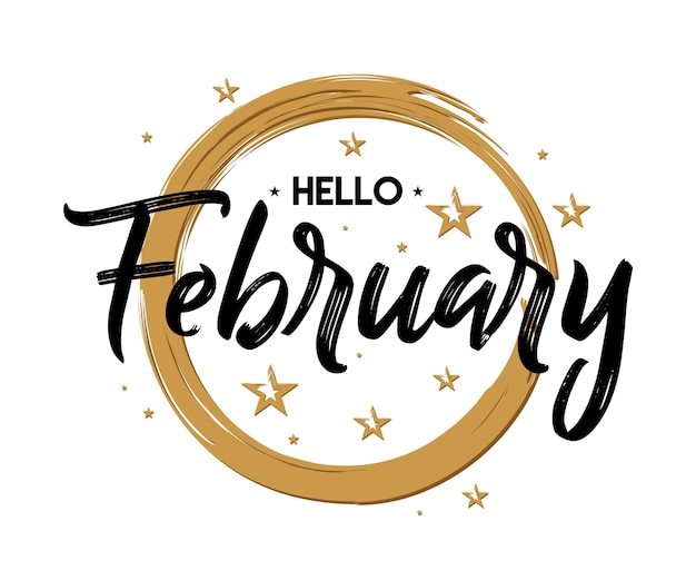 Hello february - firework - vector for greeting, new month