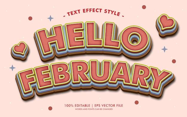 안녕하세요 2 월 텍스트 효과 스타일 프리미엄 벡터